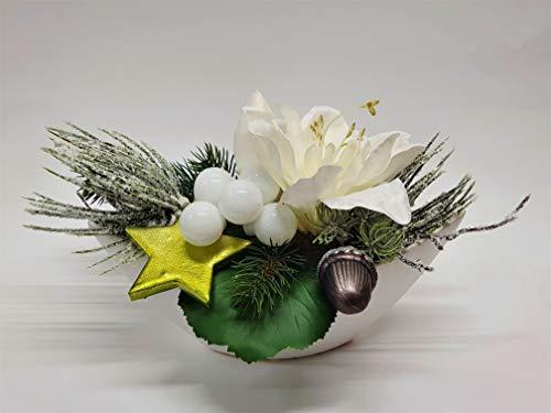 Adventsgesteck Nr.70 creme Schale mit weißer Amarillis und Winterdeko Weihnachtsgesteck, Wintergesteck, Advent Adventskranz