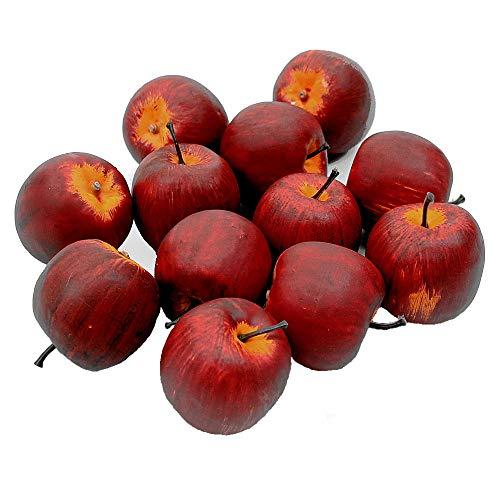 TGG 12 x Deko Äpfel groß Ø 5,5cm, d.-rot/gelb matt künstlich Apfel Früchte !!!
