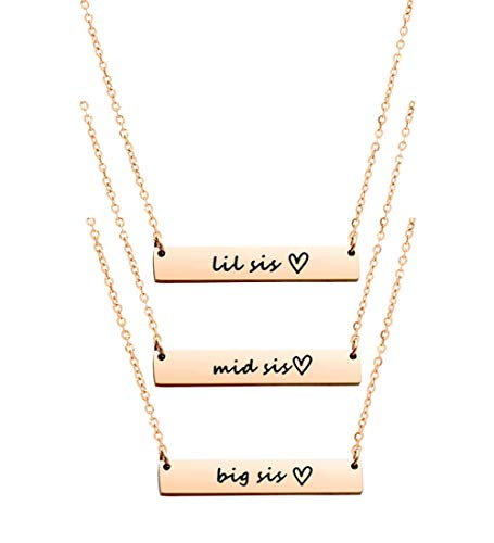 Ankiyabe Big Sister Middle Sister Little Sister Pendant Necklace Set 3 Sisters Necklace 3 Best Friends Necklace BFF Bestie Gifts (Big Mid Lil Sis-Rose Gold)