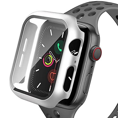 KNMY Apple Watch Serie 6 Hard Hülle mit Glas Displayschutz, 40 mm 360 ° Allround-Schutzhülle, HD Ultra Thin Protective Case, 1-teiliges Weiß Gehäuse mit Displayschutzfolie aus gehärtetem Glas