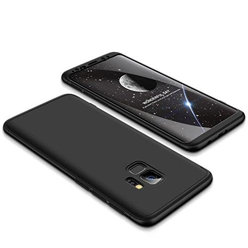 JMGoodstore Funda Compatible Galaxy S9 Plus,Carcasa Galaxy S9 Plus,360 Grados Integral Ambas Caras+Cristal Templado,3 in 1 Slim Dactilares Protectora Skin Caso Cover Negro