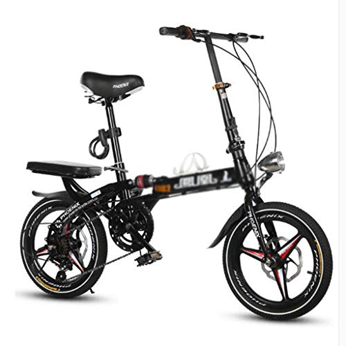 Klappräder Fahrrad Faltrad Unisex 16 Zoll 20 Zoll Schaltscheibenbremsen Sport Tragbaren Fahrrad (Color : Black, Size : 16 inch)