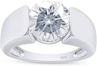 SAVEARTH DIAMONDS 925 Sterling Silver 3cttw 9mm G-H-I Color Round Cut Moissanite Lab Created Diamond Engagement Ring for M...