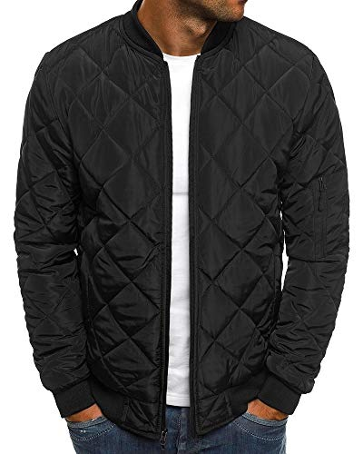 Mens Flight Bomber Diamond Quilted Jacket Lightweight Varsity Jackets Winter Warm Padded Coats Outwear