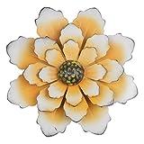 YiYa 33CM Decoración de pared de flores de metal Múltiples capas Arte de pared de flores Decoraciones de arte de pared Colgante para balcón Patio Porche Dormitorio Sala de estar Jardín(Blanco Naranja)
