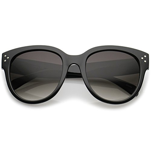 Women's Oversize Horn Rimmed Wide Temple Cat Eye Sunglasses 56mm (Black/Lavender)