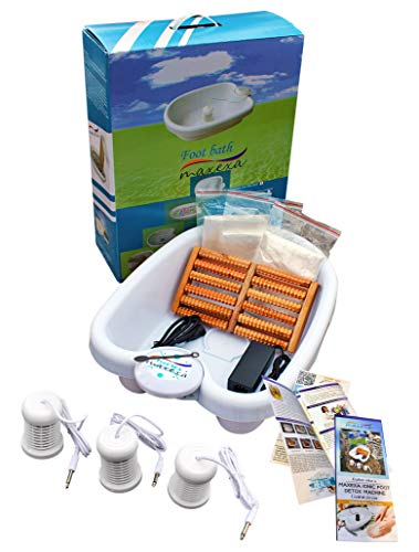 MAXEXA Optimum Ionic Foot Bath Detox Soak Machine to Remove Toxins   Personal Cleanse BioEnergizer   Detoxifying SPA Home or Beauty salon   With Basin, 90 plastic Liners, 3 Arrays, and Massage Roller