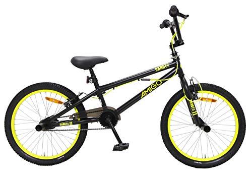 Amigo Danger - Bicicleta BMX de 20 pulgadas, estilo libre, con frenos de mano, rotor de 360° y 4 pegs, a partir de 5-9 años, color negro y amarillo