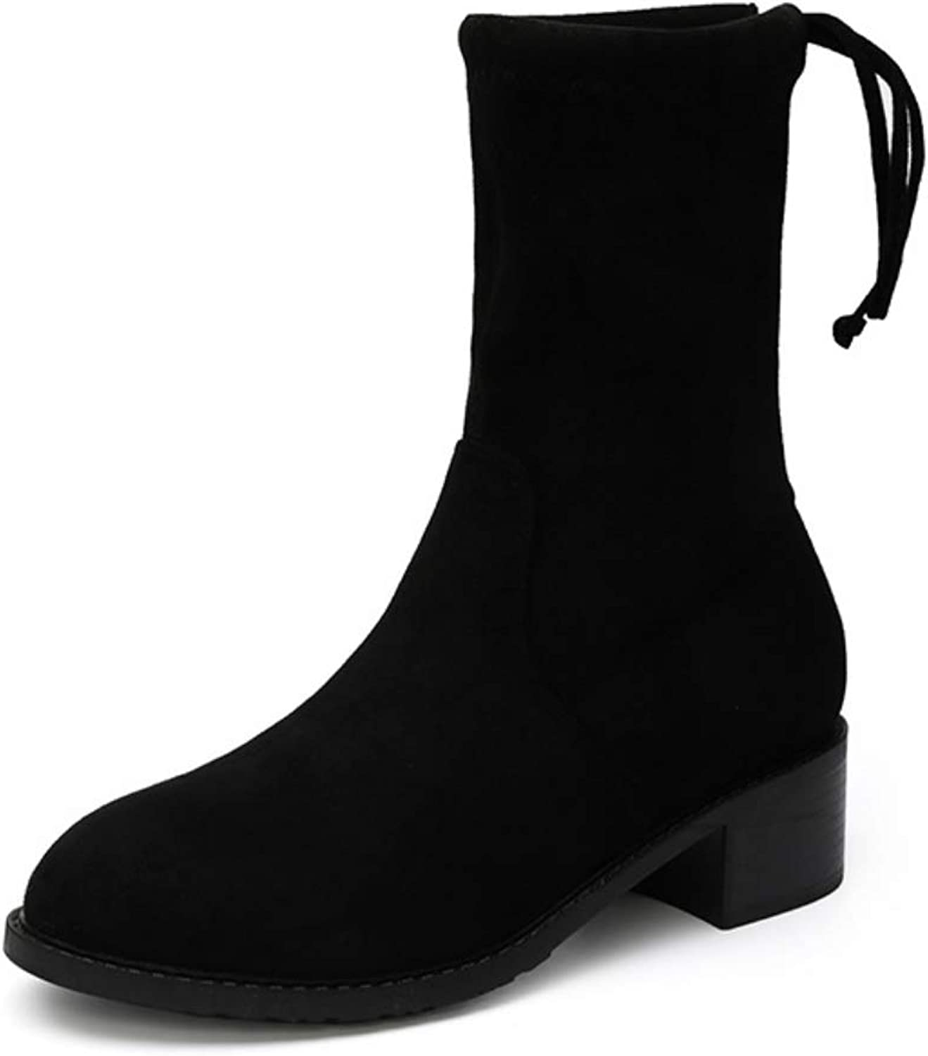 Women Calf Boots Slim Stretch Short Boots  2018 Autumn and Winter New Middle Tube Thick with Heel Boots Round Head Fashion Socks Boots Black