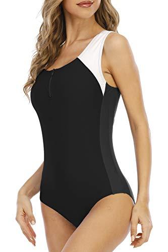 Halcurt Traje de baño de una pieza con cremallera frontal para mujer, Negro/Blanco, L