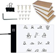 Flip Book Kit with A5 Light Pad for Drawing and Tracing, LED Light Box with Flip Book, 320 Sheets Animation Paper with Bin...