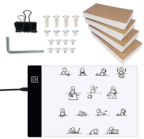 Flip Book Kit with A5 Light Pad for Drawing and Tracing, LED Light Box with Flip Book, 320 Sheets Animation Paper with Binding Screws