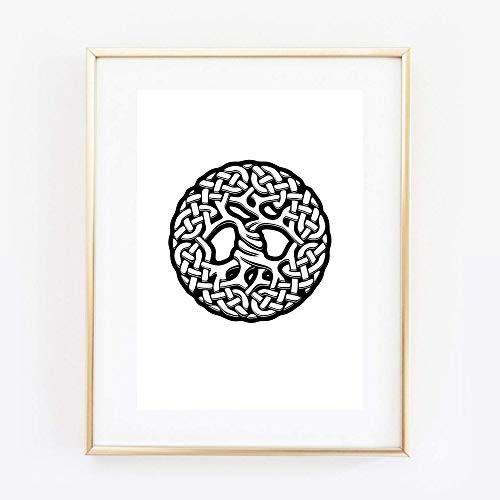 Din A4 Kunstdruck ungerahmt Lebensbaum Baum des Lebens Yggdrasil Keltisch Nordisch Grafik Druck Poster Bild