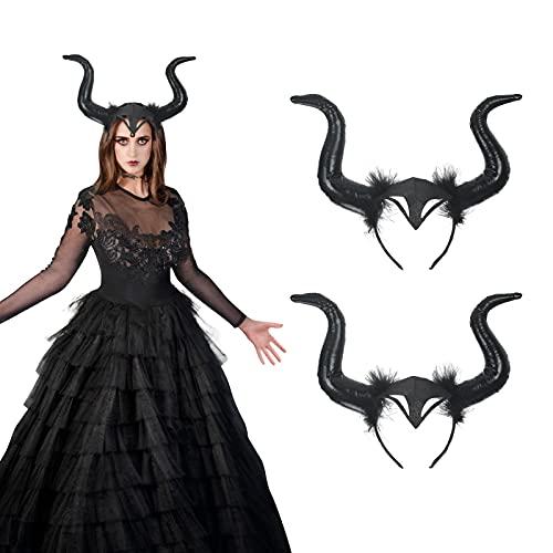 LANMOK Diadema de Cuernos, Halloween Black Horns Headgear Devil Horns con Felpa Evil Queen Accesorios para el Cabello Disfraz Damas Tocado Terror Lema Fiesta Carnaval Cosplay