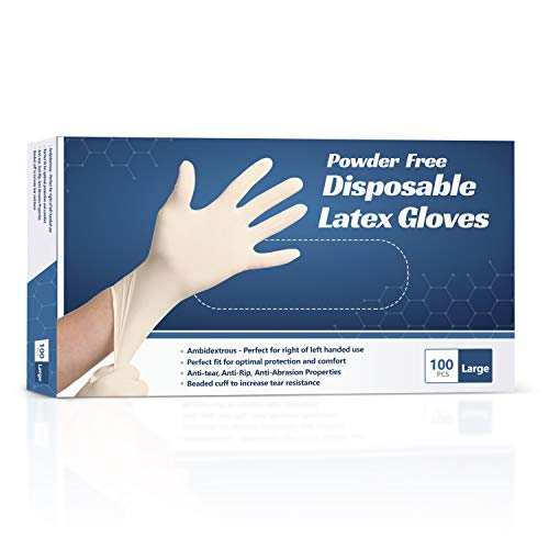 New Disposable Latex Gloves, Powder Free (100 Gloves Per Box) (Large)