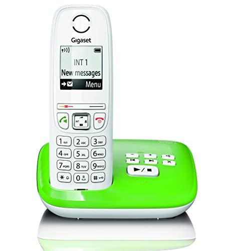 AS405A Festnetz-/Schnurlostelefon Anrufbeantworter (DECT-Telefon, Freisprechfunktion, großes Display, große Tasten) grün