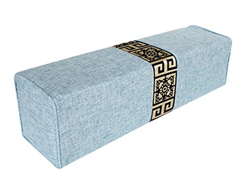 peacewish estilo chino almohada de lino de algodón rectangular larga tipo columna almohada de dormir sofá cama almohada lumbar almohada de cuello desmontable lavar, Azul claro, M