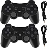 PS3 Controllers for Playstation 3 Dualshock Six-axis, Wireless Bluetooth Remote Gaming Gamepad Joystick Includes USB Cable (Black and Black)