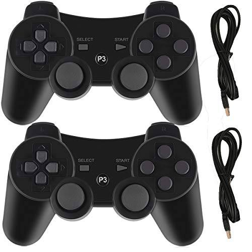Molgegk Wireless Controllers Replacement for PS3 Remote Gamepad Joystick Double Vibration with Charging Cable (Black and Black)