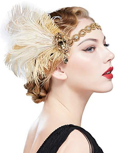 Coucoland 1920s Pauw Veer Hoofdband Crystal Gatsby Hoofdstukken Vintage Veer Haarband Roaring 20s Haaraccessoires met Strass Goud