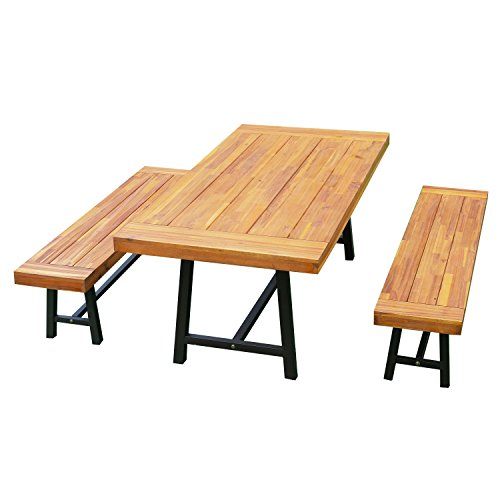 Outsunny 3 Piece 71' Acacia Wood Outdoor Picnic Table and Bench Dining Set
