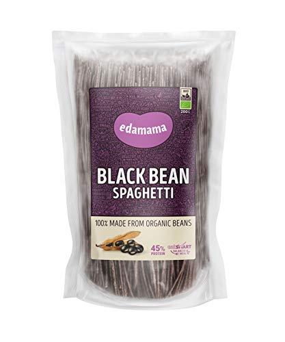 Edamama - Low-Carb High-Protein Pasta aus 100% Bio-Bohnen - Black Bean Spaghetti Nudeln - Bio, Vegan, Glutenfrei, 45% Protein (6 x 200g)