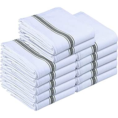 Utopia Towels 12 Pack Dish Towels, 15 x 25 Inches Cotton Dish Cloths, Grey