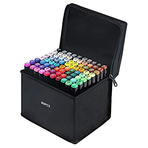Youn 80 Colours Graphic Marker Pen,Artist Necessary Permanent Art Markers Twin Marker Pen Animation Design for Drawing Paint School Supplies Coloring Highlighting and Underlining