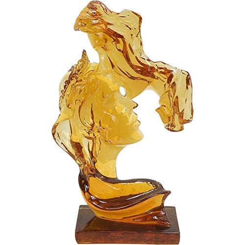 Ybzx Decoración de Escultura de Pareja, Estatua de Besos para Hombres y Mujeres, Figura de Resina Transparente para el hogar, Manualidades Retro, Regalos de Boda