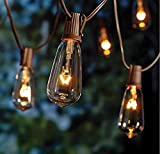 Goothy 20Ft Outdoor Patio String Lights, 20 (Plus 2 Extra Bulbs) ST40 Vintage Edison Bulb C9/E17 Base String Lights for Garden/Backyard Party/Wedding Outdoor String Lights-Brown