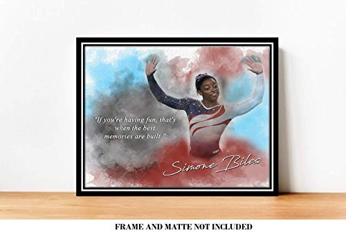 Best Memories Simone Biles Inspirational Quote - 8 x 10 Unframed Print - Wall Art for Bedrooms, Offices, Living Rooms - Stunning Gift For Gymnasts, Olympic Champions, Coaches and Fans
