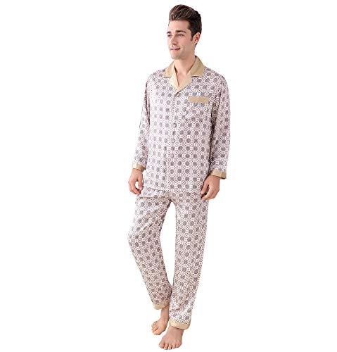 Jsix Seide Pyjama Sets für Herren 16.5 Momme Seide Klassischer Schlafanzug Hausanzug Nachtwäsche (Beige, XL)