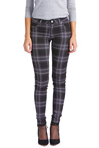Suko Jeans Women's Stretchy Plaid Skinny Denim Pants 17232 Grey/Black 6