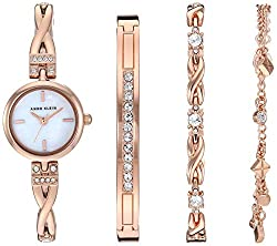 Rose Gold-Tone Swarovski Crystal Accented Watch and Bracelet Set