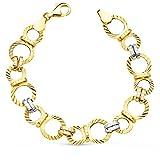 Alda Joyeros Pulsera Mujer Eslabones tallados 19,5 cm Oro Bicolor 18 kilates