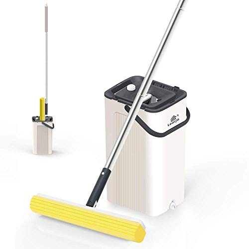 LEARJA Sponge Mop, Premium PVA Mop Hands-Free Washing, Professional Mops for Floor Cleaning, Upgrade Squeeze Mop and Bucket with Wringer Set (1 Beige Bucket + 1 Yellow Mop Head)
