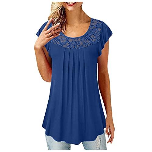 Camiseta de verano para mujer, túnica con costuras de encaje, manga corta, informal, suelta, camiseta larga, azul oscuro, XXXXL