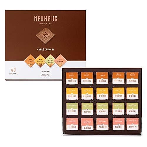 Neuhaus Belgian Chocolate Squares - Neuhaus Le Carre Crunchy Milk Chocolate Collection, Premium Belgian Chocolate Gift Box, Gourmet Chocolate Squares, 40 count