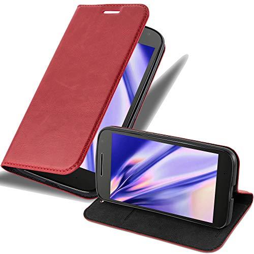 Cadorabo Hülle für Motorola Moto G4 / G4 Plus in Apfel ROT - Handyhülle mit Magnetverschluss, Standfunktion & Kartenfach - Hülle Cover Schutzhülle Etui Tasche Book Klapp Style