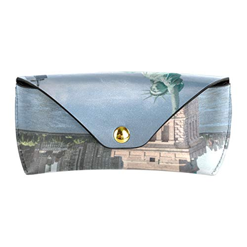 XiangHeFu Estuche de gafas de sol lindo para gafas de sol Estuche de gafas portátiles de cuero de PU Estatua de la libertad de Nueva York Multiuso