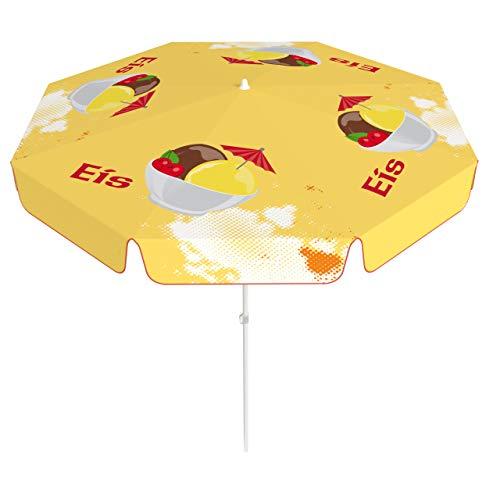 Vispronet® Runder Sonnenschirm mit Volant ∅ 180 cm Eisbecher, Eiscafé ✓ 2-teiliger Schirmstock ✓ 4-teilig Bedruckt ✓ Durchdruck des Motivs ✓ kippbar