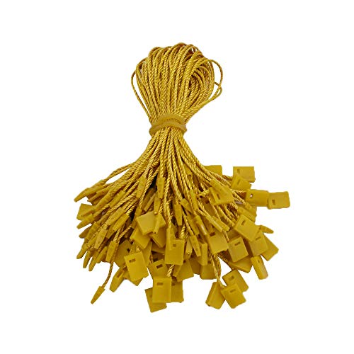 """Renashed 7"""" 960 Pcs Colorful Hang Tag String Nylon String Snap Lock Pin Loop Fastener Hook Ties Easy and Fast to Attach (Golden)"""