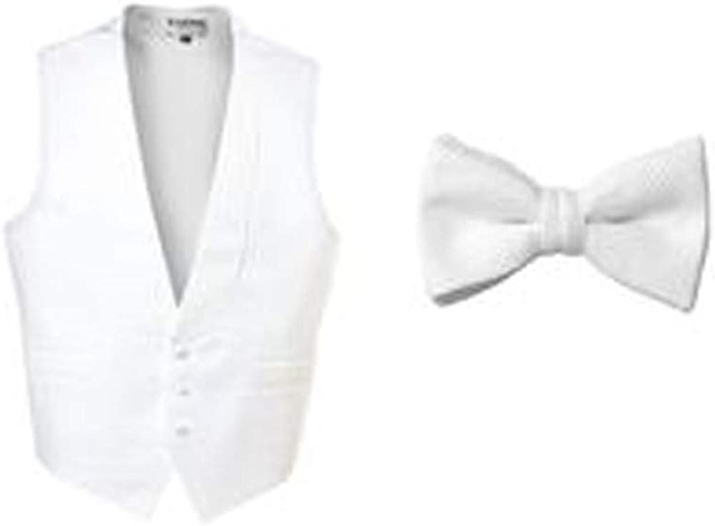 White Pique Full Back Tuxedo Vest with Matching (self tie) Bow Tie