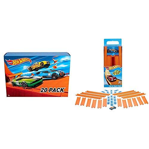 Hot Wheels - Pack De 20 Vehículos con Embalaje de Cartón, Coches de Juguete (Modelos Surtidos) (Mattel DXY59) + Wheels Track Builder, tramos de Pista con vehículo Incluido (Mattel BHT77)