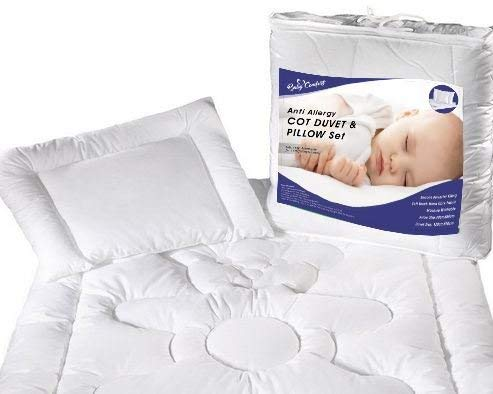 Baby Cot, Cot Bed Duvet & Pillow Filling Set 120x90cm 100% Cotton Opt.8
