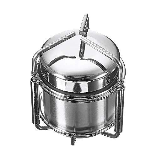 MICEROSHE Grill im Freien Tragbares Outdoor-Spiritus-Ofen Camping Picknick BBQ Kochherd Edelstahl Kocher (Farbe : Silber, Größe : 85X105mm)