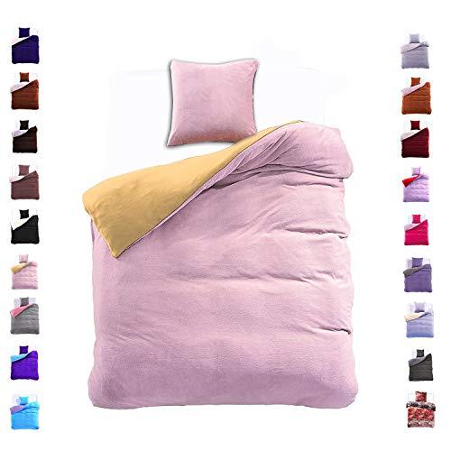 DecoKing 135x200 cm Bettwäsche mit 1 Kissenbezug 80x80 Mikrofaser Weich Warm Winter Kuschelig Bettbezug Bettwäschegarnitur Stahl gelb grau Yellow Grey Furry
