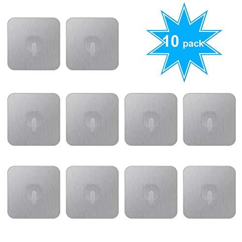 CNASA Selbstklebende Haken, Edelstahl, 3M-Klebstoff, Wandaufhängung für Küche, Badezimmer, 10 Stück