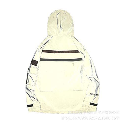 KPOON Reflektierende Herrenjacke Reflektierende Windjacke reflektierende Jacke Fluorescent Astronaut Jacke Sportliche reflektierende Kleidung (Color : White, Size : M)