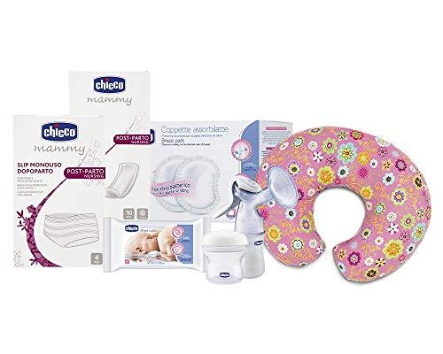 Chicco Kit completo para mamá, contiene compresas post parte, Slip desechables, discos absorbentes, toallitas, sacaleches manual, recipientes de leche materna, cojín Boppy – 2710 g